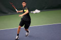 Iowa tennis player Lefteris Theodorou volleys the ball during the Iowa-Marquette match in the Hawkeye Tennis and Recreation Complex on Friday, Feb. 6, 2015. Theodorou's won over Marquettes's Nick Dykema, 2-1 and 6-2. The Hawkeyes defeated the Golden Eagles, 7-0. (The Daily Iowan/Margaret Kispert)