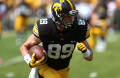 Iowa wide receiver Matt VandeBerg runs with the ball in Kinnick Stadium on Saturday, Sept. 5, 2015. The Hawkeyes defeated the Redbirds, 31-14.