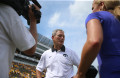 Iowa head coach Kirk Ferentz gets interviewed after the Iowa-Illinois State game in Kinnick on Saturday, Sept. 5, 2015. The Hawkeyes defeated the Redbirds, 31-14. (The Daily Iowan/Margaret Kispert)