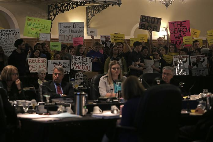 The+Board+of+Regents+is+protested+inside+the+main+ballroom+of+the+IMU+on+Wednesday%2C+Oct.+21%2C+2015.+Protestors+demanded+that+the+members+of+the+Board+of+Regents+resign.+%28The+Daily+Iowan%2FMikaela+Parrick%29