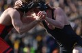 Iowa's Sammy Brooks wrestles against Oklahoma State's Jordan Rogers in the 184-pound match in Kinnick Stadium on Saturday, Nov. 14, 2015. Brooks defeated Rogers by technical fall in 4:09, 17-2. The Hawkeyes defeated the Cowboys, 18-16. (The Daily Iowan/Joshua Housing)