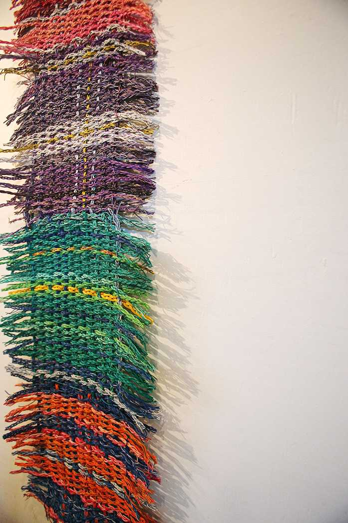Electric Fibers III, created by Leah Burke, hangs in Public Space One during the exhibition of 'Maintenance Mode' on Wednesday, Jan. 20, 2016. This exhibition examines the importance of labor on artistic expression. (The Daily Iowan/Valerie Burke)