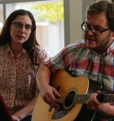 Dave Helmer and Sam Drella of Crystal City perform one of their songs at the Iowa City Public Library on Wednesday, Oct. 19, 2016. Crystal City performed at the public library as part of the library's Music on Wednesday program. (The Daily Iowan/Anthony Vazquez)