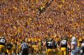Iowa fans celebrate a touchdown in Kinnick Stadium on Saturday, Sept. 5, 2015. The Hawkeyes defeated the Redbirds, 31-14.
