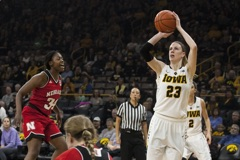 Iowa forward Christina Buttenham takes a shot during a women's basketball game in Carver-Hawkeye Arena on Saturday, Dec. 31, 2016. The Hawkeyes defeated the Nebraska Cornhuskers, 75-72. (The Daily Iowan/Joseph Cress)