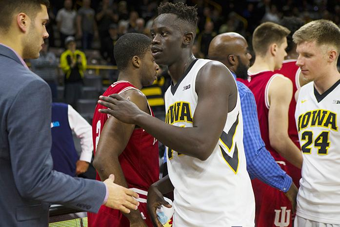 FILE+-+Iowa%27s+Peter+Jok+shakes+hands+after+a+men%27s+basketball+game+against+Indiana+in+Carver-Hawkeye+Arena+on+Tuesday%2C+Feb.+21%2C+2017.+Jok+plays+for+the+Pelicans%E2%80%99+in+New+Orleans+during+the+NBA+summer+league.+%28Joseph+Cress%2FThe+Daily+Iowan%2C+file%29