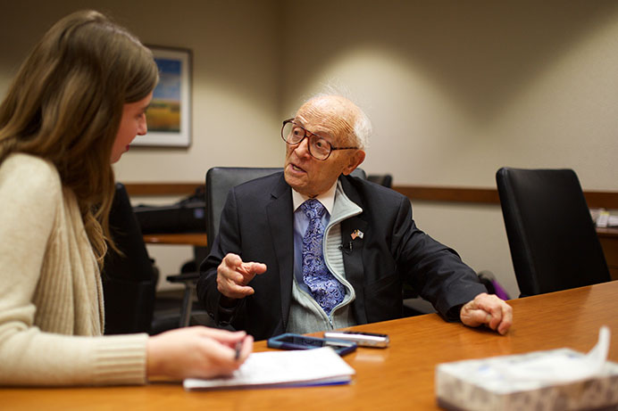 Dr. Jacob Eisenbach interviews with the Daily Iowan on Thursday, Apr. 27, 2017 at the UI College of Dentistry. Dr. Eisenbach, a Holocaust survivor from Lodz, Poland, and '55 graduate of the College of Dentistry, retired from full-time dentistry after 60 years. (The Daily Iowan/Olivia Sun)