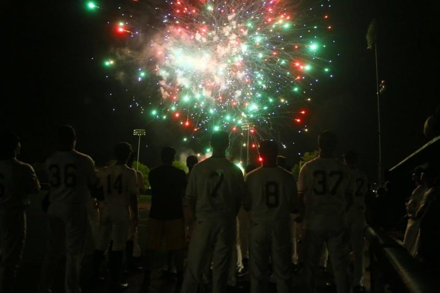 The+Iowa+team+watch+as+fireworks+end+their+season+at+home+after+the+game+between+Omaha-Iowa+at+Duane+Banks+Field+on+Tuesday%2C+May+16%2C+2017.+The+Hawkeyes+pull+off+another+comeback+win+with+three+runs+in+the+8th+inning+and+two+runs+in+the+9th+inning+for+the+9-8+victory.+%28The+Daily+Iowan%2F+Alex+Kroeze%29