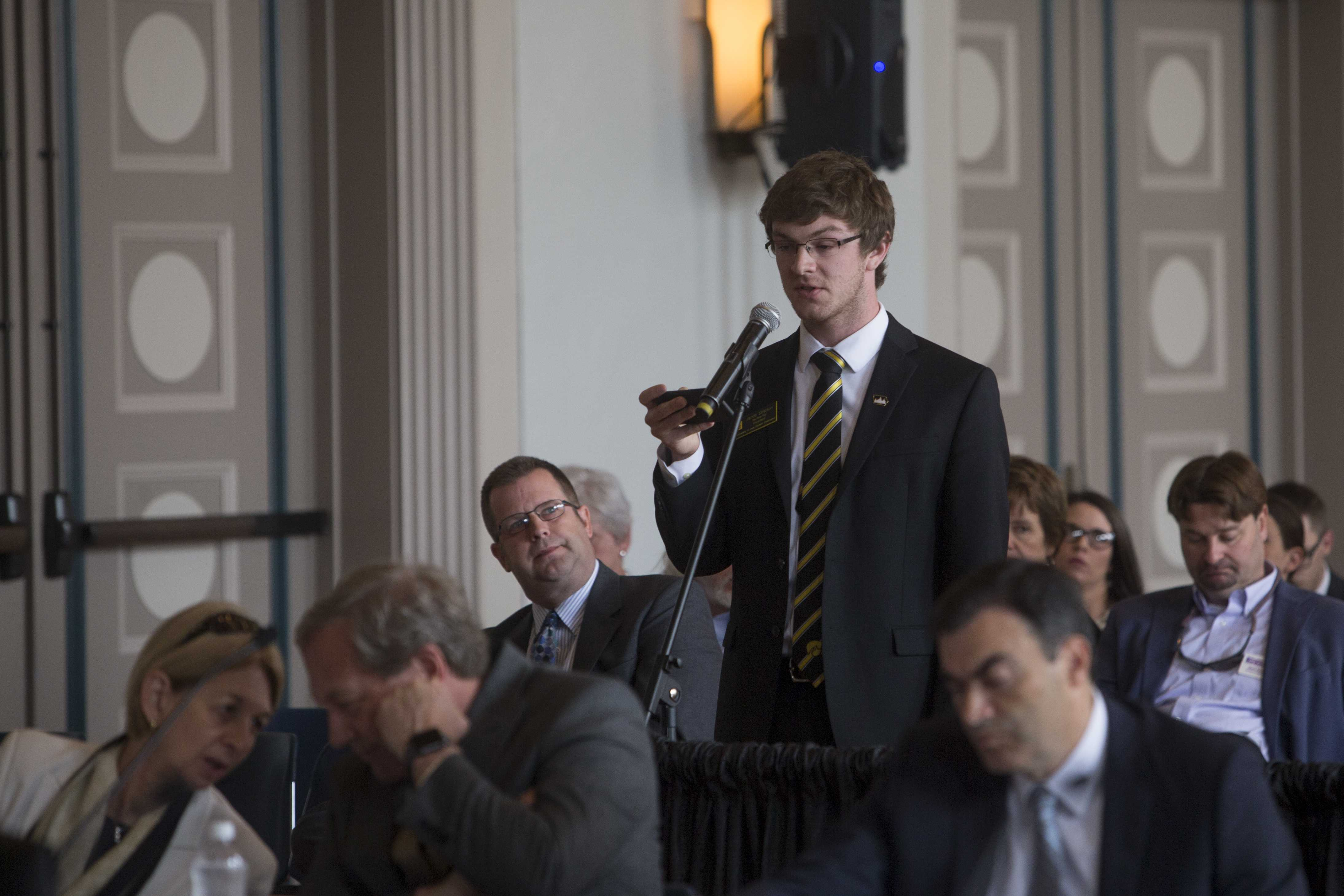 UISG president Jacob Simpson addresses the Iowa Board of Regents on Thursday June 8, 2017. Simpson called for transparency as the Board of Regents debates tuituion increases. (The Daily Iowan/Nick Rohlman)