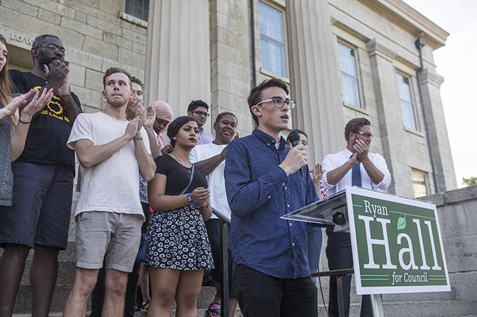 Ryan+Hall+speaks+during+his+campaign+announcement+on+the+east+steps+of+the+Old+Capitol+building+on+the+Pentacrest+on+Wednesday%2C+Aug.+9%2C+2017.++Hall+is+a+24-year-old+student+who+is+campaigning+for+a+seat+representing+District+B+on+the+Iowa+City+City+Council+in+the+upcoming+November+election.+%28Joseph+Cress%2FThe+Daily+Iowan%29