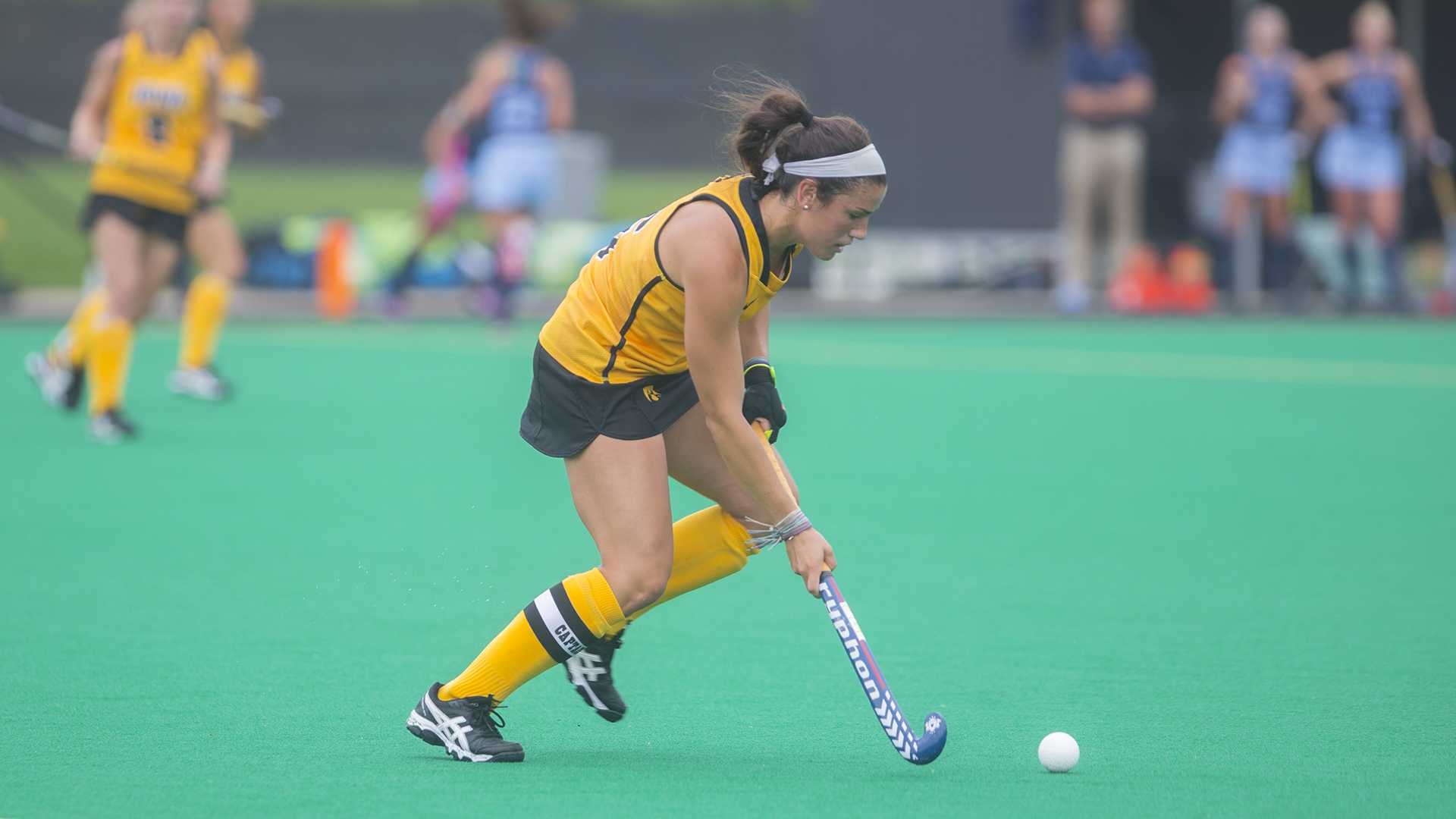 Iowa's Mallory Lefkowitz hit the ball during a field hockey game during the Big Ten/ACC Challenge at Grant Field in Iowa City on Sunday, Aug. 27, 2017. The Hawkeyes fell to the Tarheels, 3-0. (Lily Smith/The Daily Iowan)
