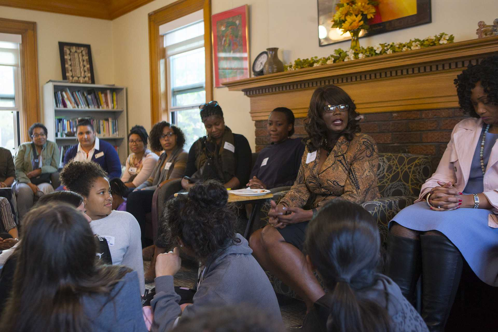 Vice President for Student Life Melissa Shivers speaks  during the Womxn of Colour Welcome Mixer at the Women's Resource and Action Center on Wednesday, Sept. 6, 2017. It was the inaugural event for the Womxn of Colour Network Series, and will feature a monthly program on a topic affecting women of color.