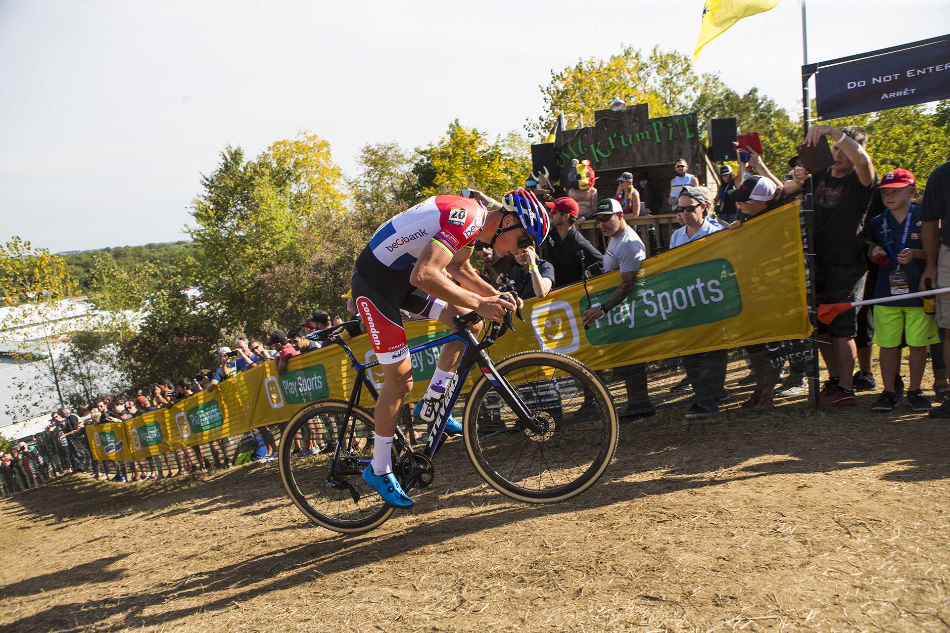 Beobank-Corendon's Mathieu Van Der Poel from the Netherlands rides up Mt. Krumpit during the UCI Telenet Men's World Cup cyclocross race at Jinglecross on the Johnson County fairgrounds on Sunday, Sept. 17, 2017. Sunday began with a kids events, a speedo race and a dog race followed by the women's and men's UCI world cup races. (Joseph Cress/The Daily Iowan)