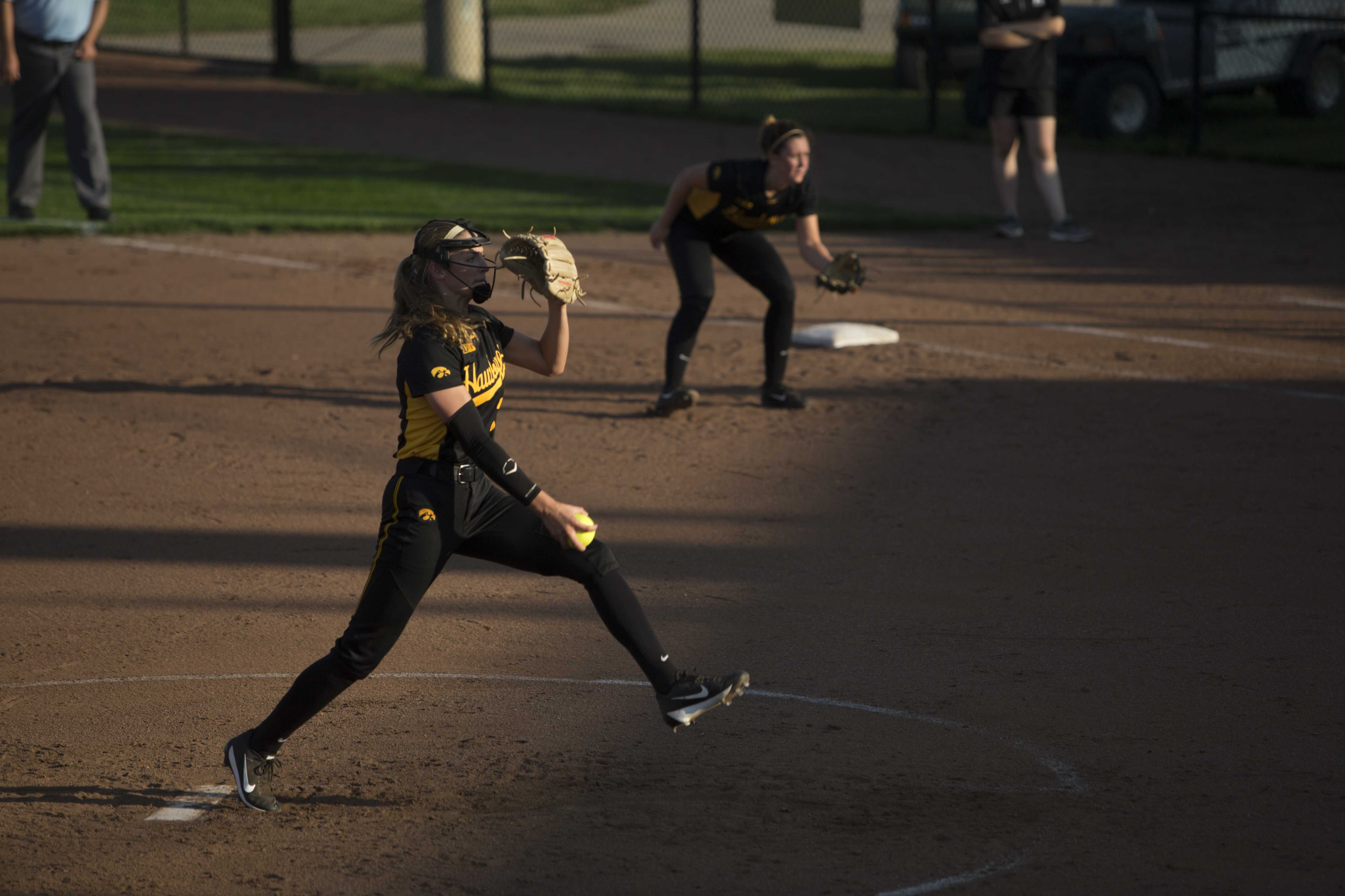 Iowa's Allison Doocy pitches for the Hawks at the Pearl Field Hawkeye Softball complex on Friday, Sept. 22, 2017. Hawkeyes defeated Kirkwood Community College 5-3. (Ashley Morris/The Daily Iowan)