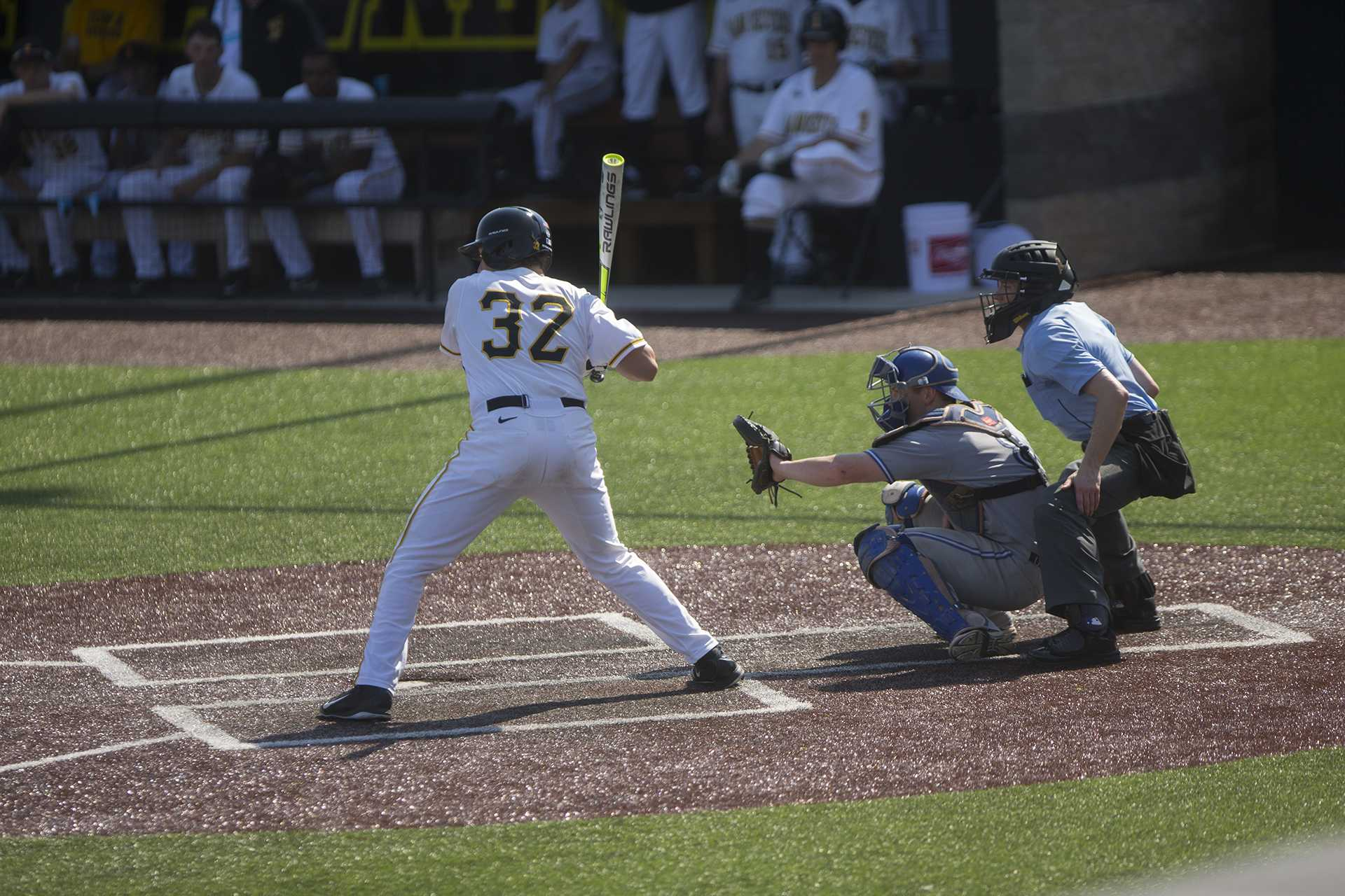 Iowa catcher Brett McCleary bats during the Iowa/Ontario baseball game at Duane Banks Field on Saturday, Sept. 23, 2017. The Hawkeyes defeated the Blue Jays, 14-3. (Lily Smith/The Daily Iowan)