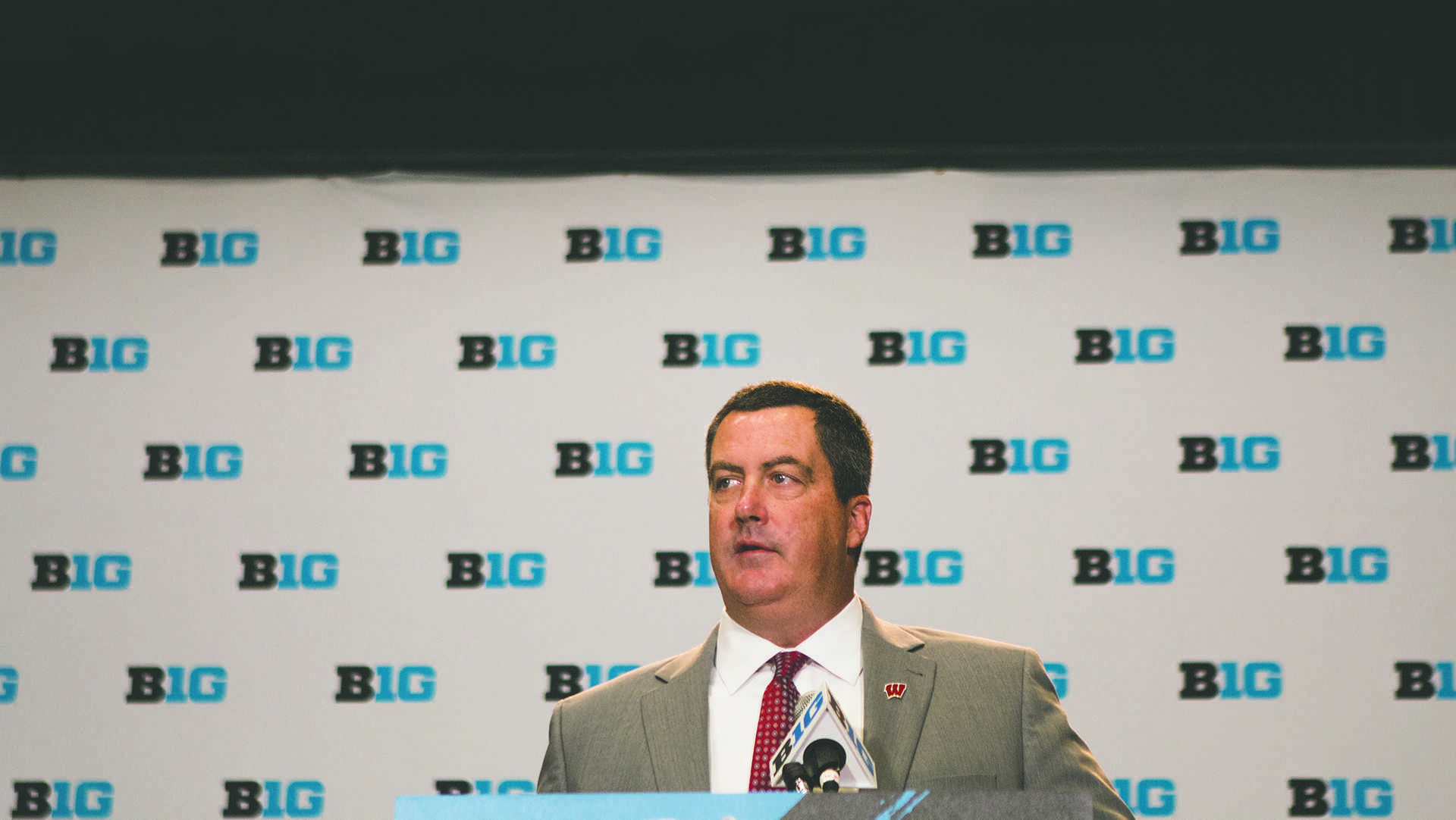 Wisconsin head coach Paul Chryst speaks during the Big Ten Media Days at McCormick Place Convention Center in Chicago on Monday, July 24, 2017. (Joseph Cress/The Daily Iowan)