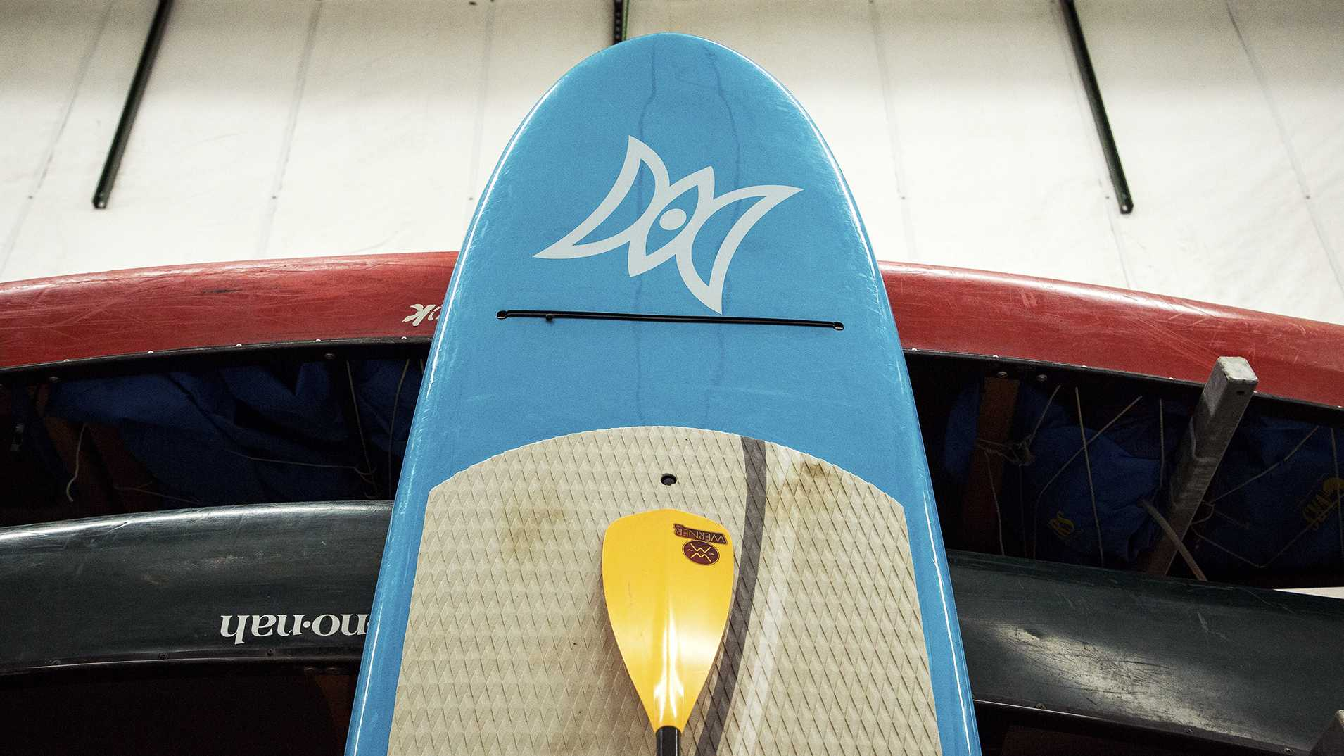 Paddle boards are seen at the University of Iowa Outdoor Rental Center on Tuesday, Sept. 19, 2017. (David Harmantas/The Daily Iowan)