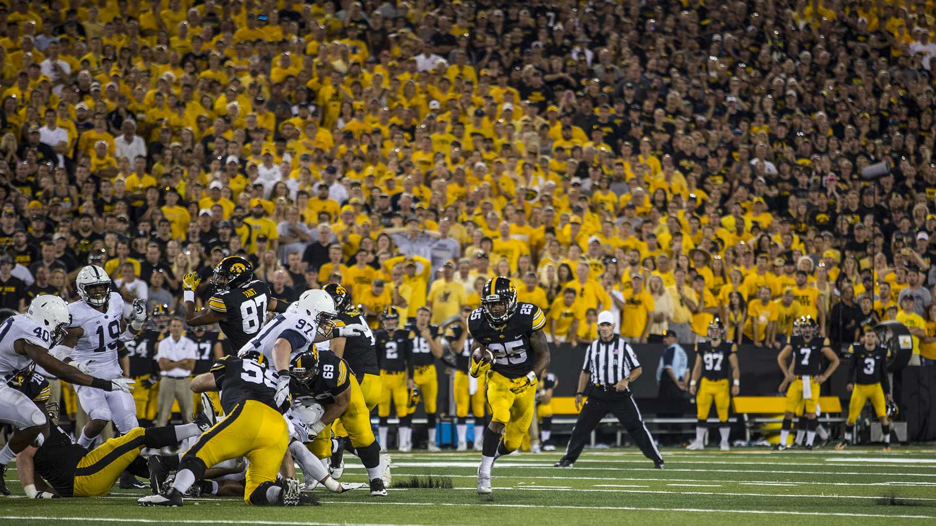 Iowa running back  Akrum Wadley breaks free for a touchdown run during Iowa's game against Penn State at Kinnick Stadium on Sept. 23, 2017. Penn State defeated Iowa 21-19 on a last-second touchdown pass. (Nick Rohlman/The Daily Iowan)