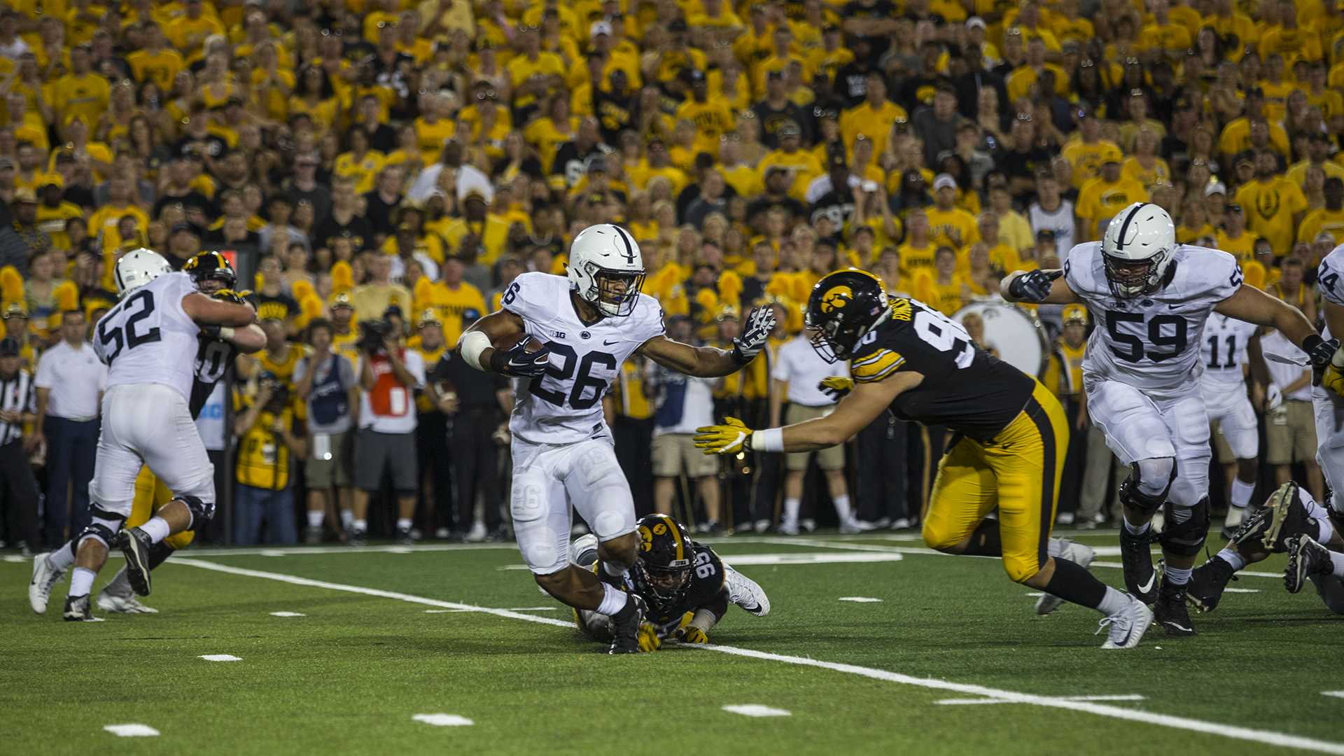 Penn State's Saquon Barkley carries the ball during Iowa's game against Penn State in Kinnick Stadium on Sept. 23. Barkley set a Penn State school record with 358 all-purpose yards. Penn State defeated Iowa, 21-19, on a last-second touchdown pass. (Nick Rohlman/The Daily Iowan)
