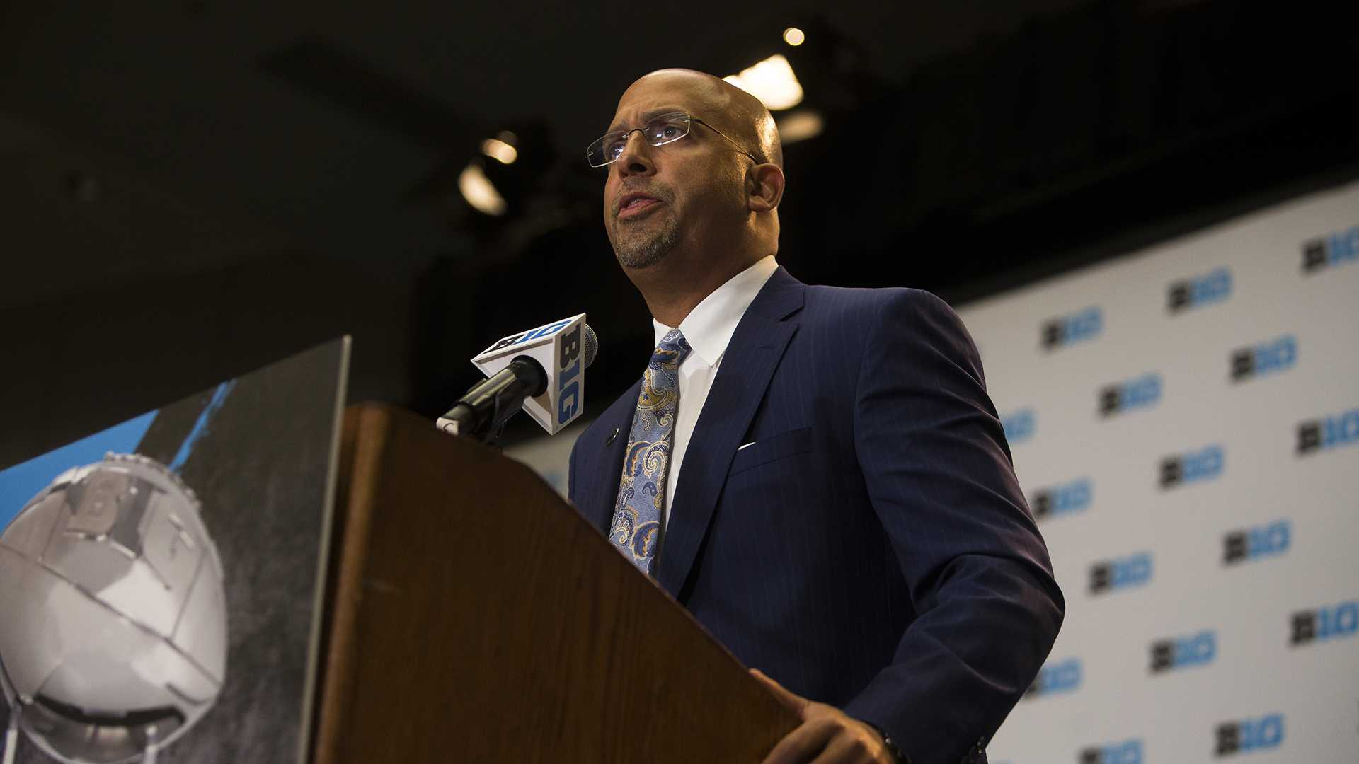James Franklin, head coach of Penn State, speaks during Big Ten Football Media Days at McCormick Place Conference Center in Chicago on Tuesday, July 25, 2017. (Ben Smith/The Daily Iowan)