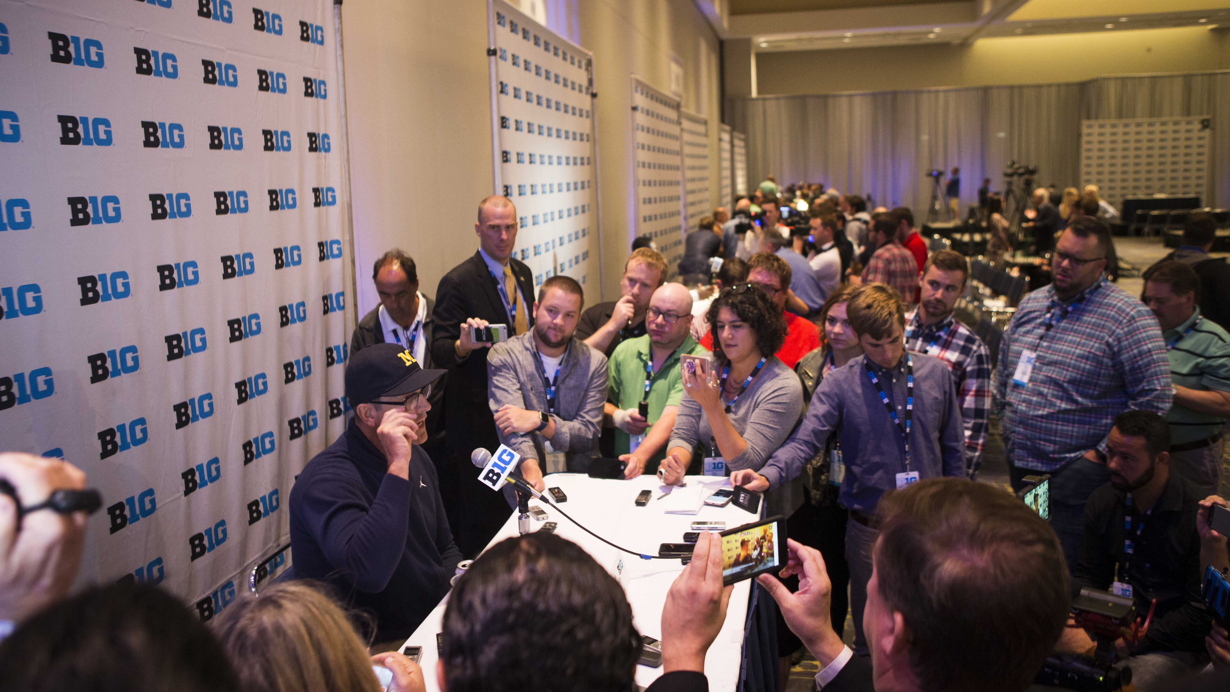 Michigan head coach Jim Harbaugh speaks with members of the media during the Big Ten Media Days at McCormick Place Convention Center in Chicago on Tuesday, July 25, 2017. (Joseph Cress/The Daily Iowan)
