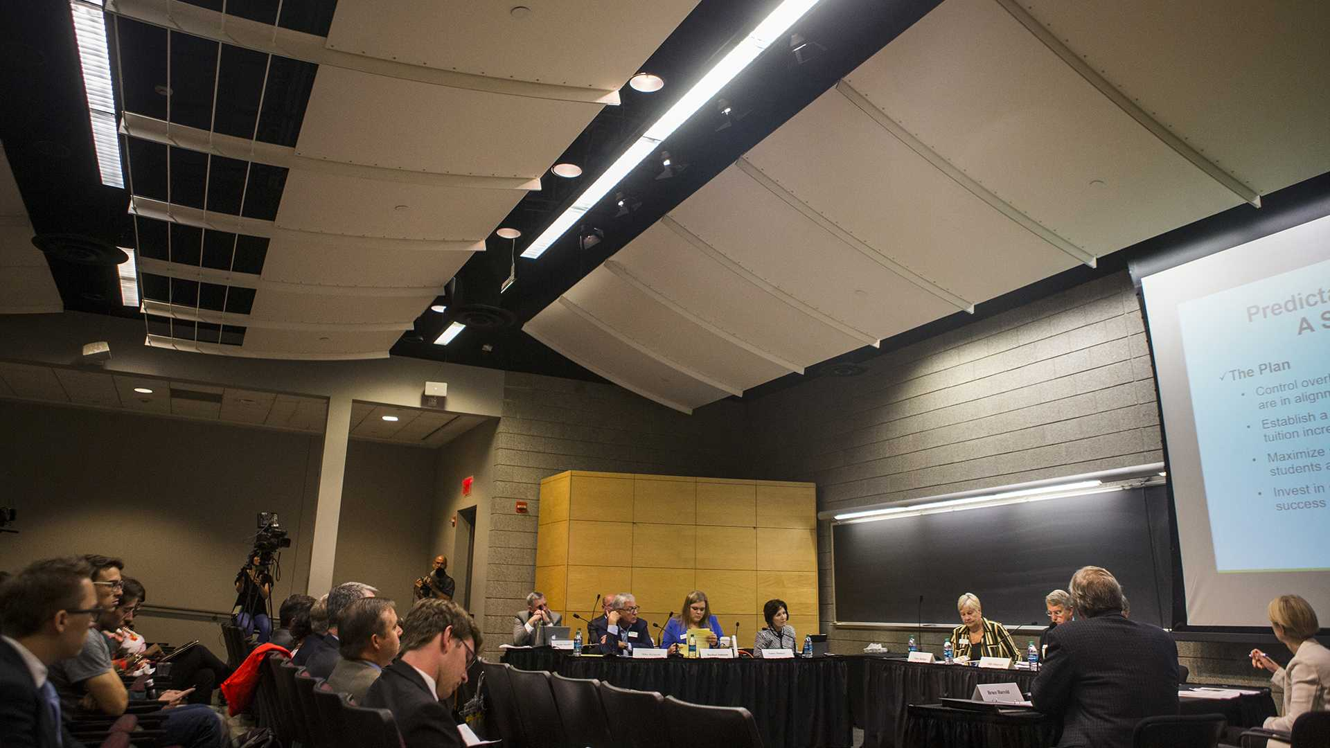 University of Iowa President J. Bruce Harreld speaks during a state Board of Regents tuition task force meeting in Kollros Auditorium in Biology Building East in Iowa City on Monday, Aug. 14, 2017. (Joseph Cress/The Daily Iowan)