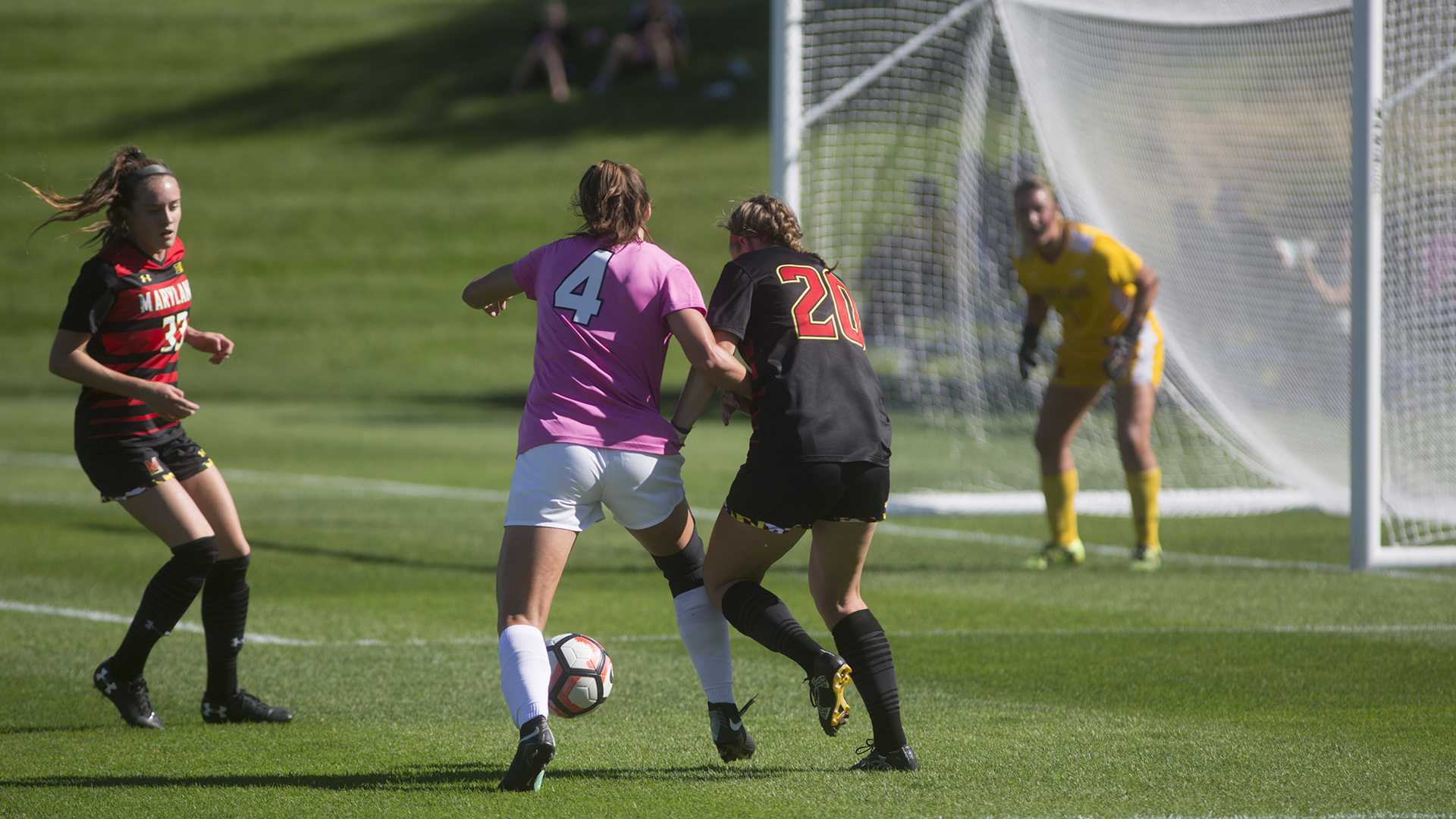 Iowa forward Kaleigh Haus battles Maryland defender Niven Hegeman for the ball at the Iowa Soccer Complex on Sunday, Oct. 8, 2017. The Hawkeyes defeated the Terrapins 4-0. (Ashley Morris/The Daily Iowan)
