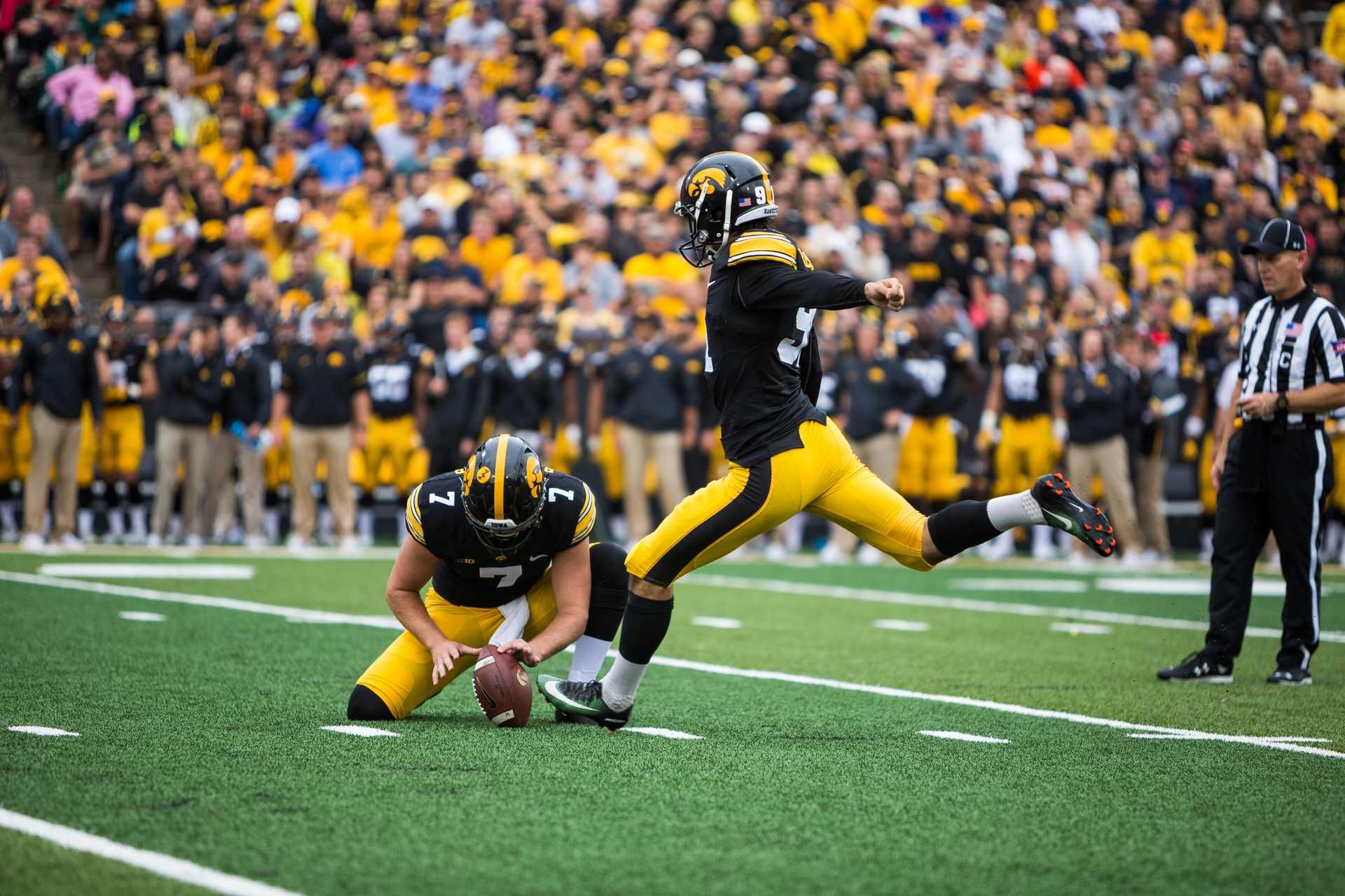 Iowa kicker Miguel Recinos kicks a field goal in the Iowa/Illinois football game on Saturday, Oct. 7, 2017. (David Harmantas/The Daily Iowan)