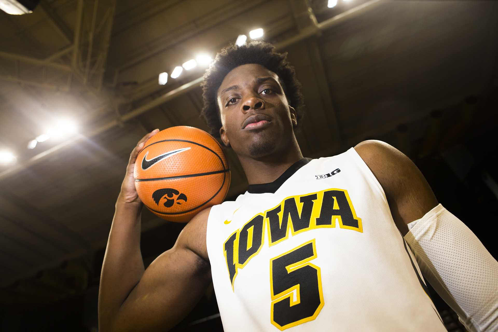 Iowa forward Tyler Cook poses for a portrait during men's basketball media day in Carver-Hawkeye Arena on Monday, Oct. 16, 2017. The Hawkeyes open up their season with an exhibition game against William Jewell College on Friday, Oct. 27. at 7 p.m. in Carver. (Joseph Cress/The Daily Iowan)
