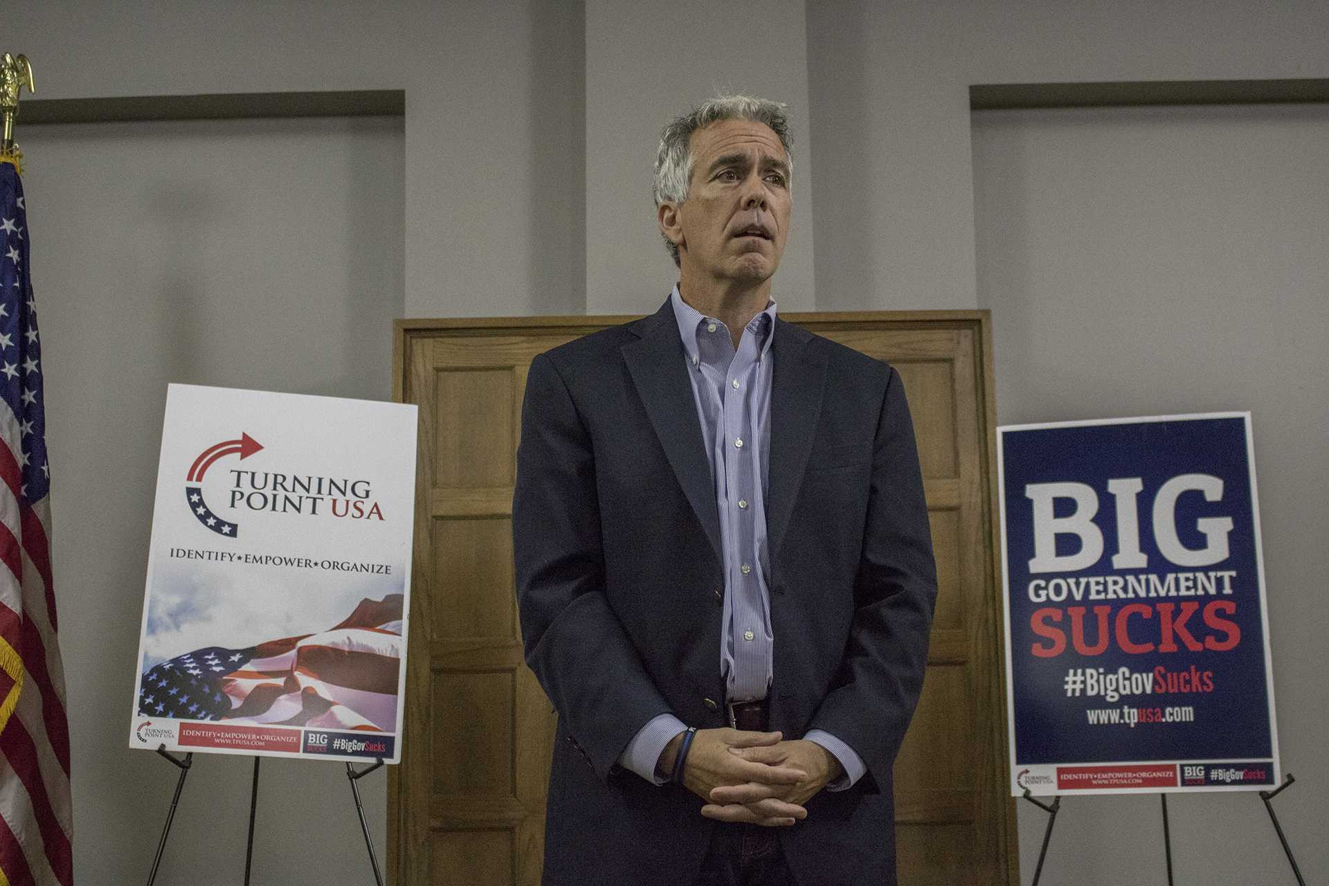 Joe Walsh speaks at the IMU on Tuesday, October 17, 2017. Walsh presented about the states of both major political parties and background regarding the presidential election. (Shivansh Ahuja/The Daily Iowan)