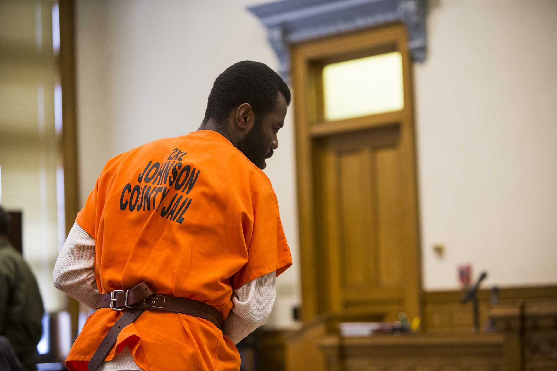 "Lamar Wilson of Iowa City walks into the court room during a case management hearing for Lamar Wilson vs. Johnson County in the Johnson County courthouse on Friday, Oct. 27, 2017. Wilson's lawyers asked the judge to dismiss charges against him using Iowa's ""stand your ground"" defense. (Joseph Cress/The Daily Iowan)"