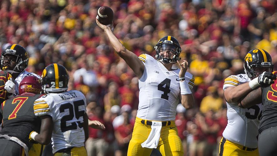 Iowa+quarterback+Nathan+Stanley+throws+a+pass+during+the+Cy-Hawk+game+at+Jack+Trice+Stadium+on+Saturday%2C+Sept.+9%2C+2017.+The+Hawkeyes+went+on+to+defeat+the+Cyclones+44-41+to+win+the+Cy-Hawk+trophy.+%28Ben+Smith%2FThe+Daily+Iowan%29