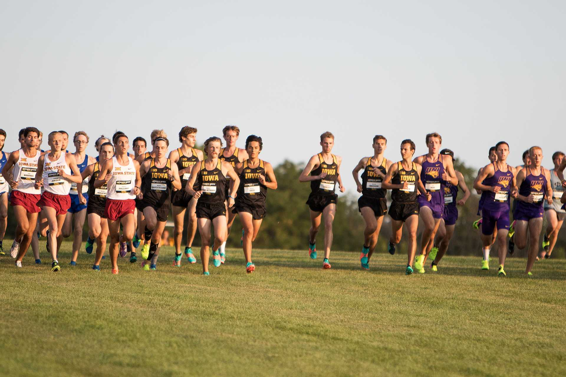The Iowa Men's Cross Counntry Team springs away from the starting boxes at the Hawkeye Invitational Cross Country meet on Friday, September 1, 2017. (David Harmantas/The Daily Iowan)