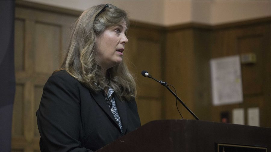 FILE+-+UI+sexual+misconduct+response+coordinator+and+Title+IX+coordinator+Monique+DiCarlo+addresses+the+media+during+a+Speak+Out+Iowa+survey+key+findings+report+on+Wednesday%2C+Sept.+21%2C+2016.+The+findings+were+based+on+students%27+experiences+with+about+sexual+violence.+%28The+Daily+Iowan%2FJoseph+Cress%29