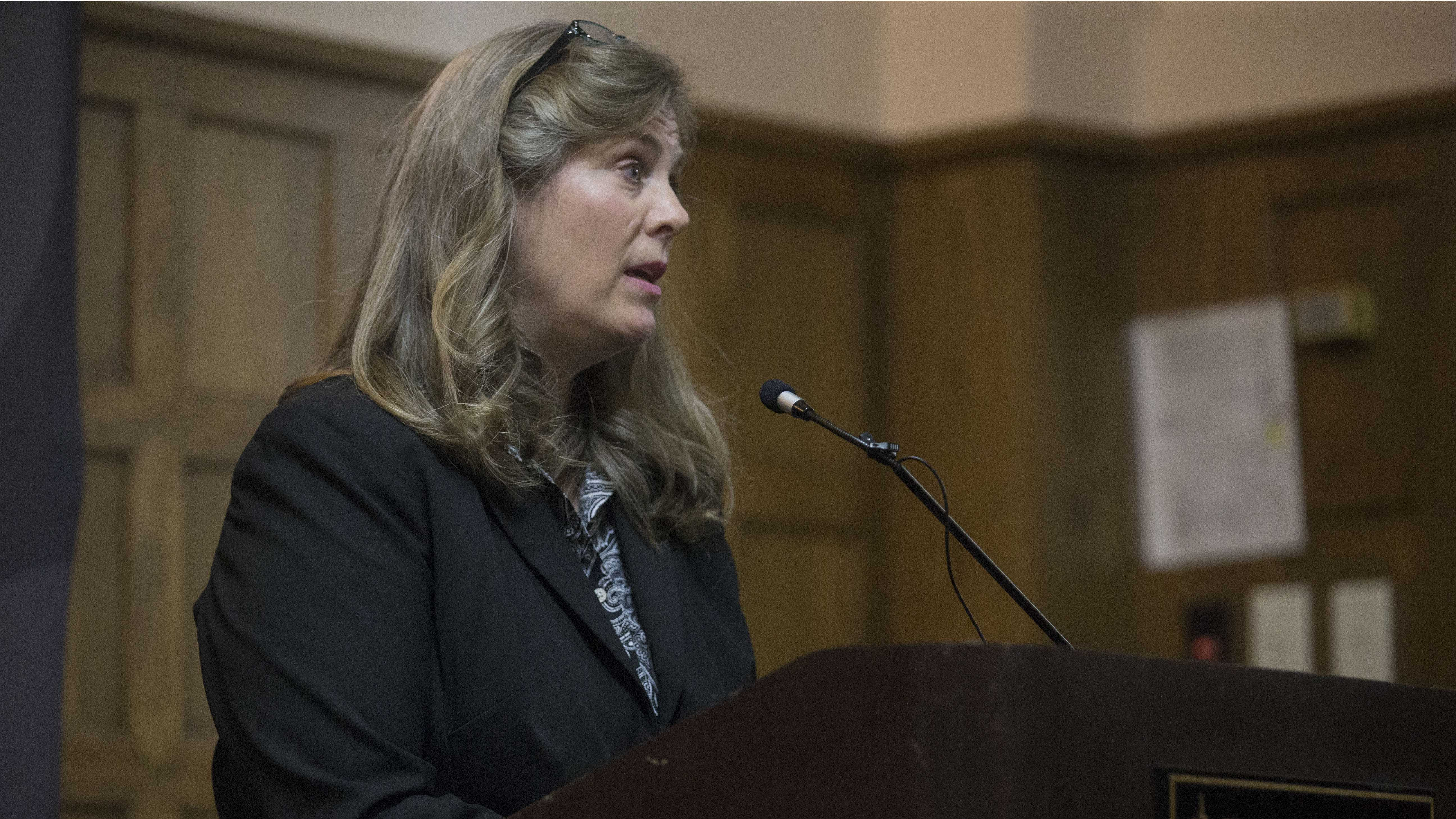 FILE - UI sexual misconduct response coordinator and Title IX coordinator Monique DiCarlo addresses the media during a Speak Out Iowa survey key findings report on Wednesday, Sept. 21, 2016. The findings were based on students' experiences with about sexual violence. (The Daily Iowan/Joseph Cress)