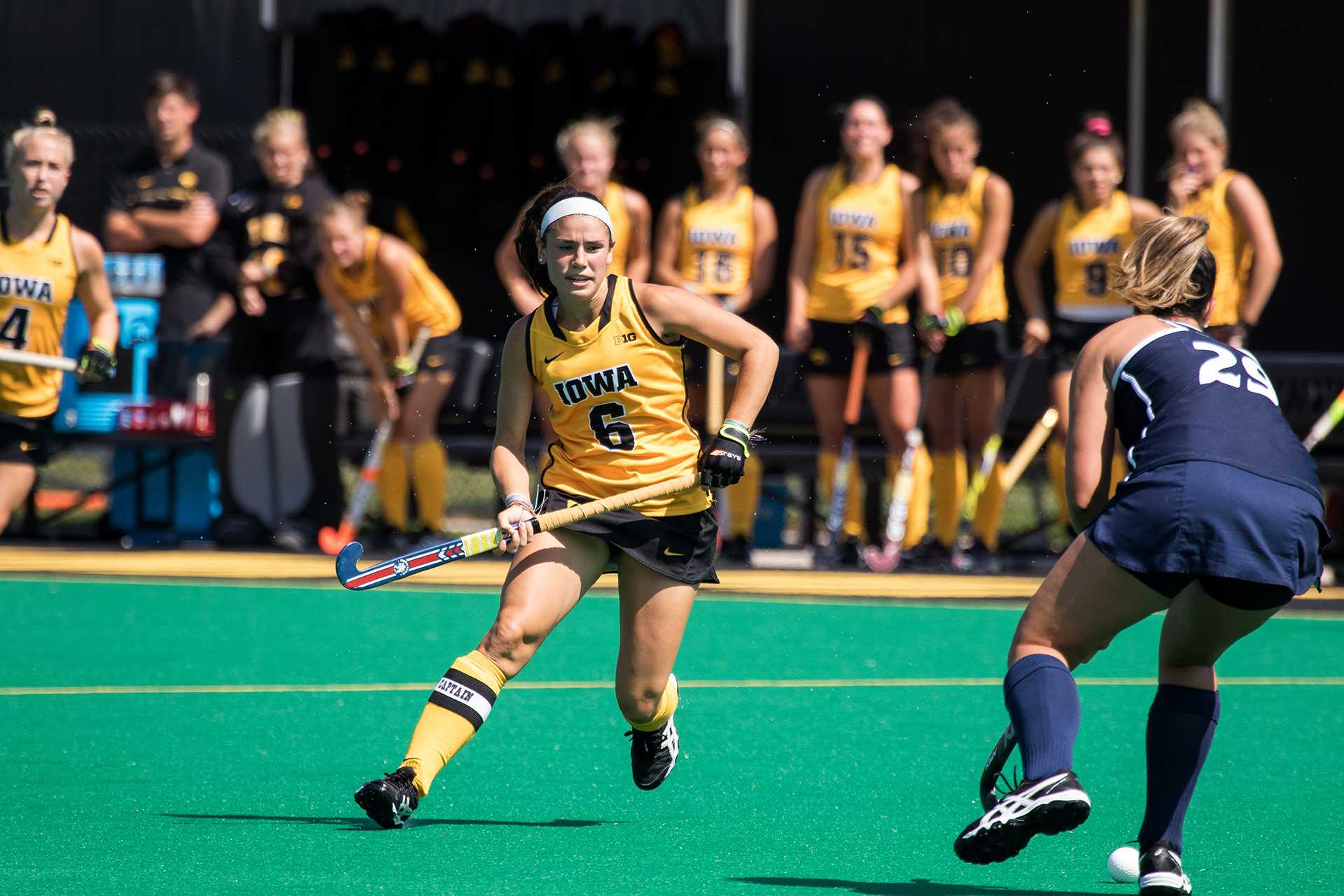 Iowa's Mallory Lefkowitz squares up against an opposing player during the Iowa-University of New Hampshire field hockey match on Sunday, 10 September, 2017. Iowa defeated UNH by a final score of 7-1. (David Harmantas/The Daily Iowan)