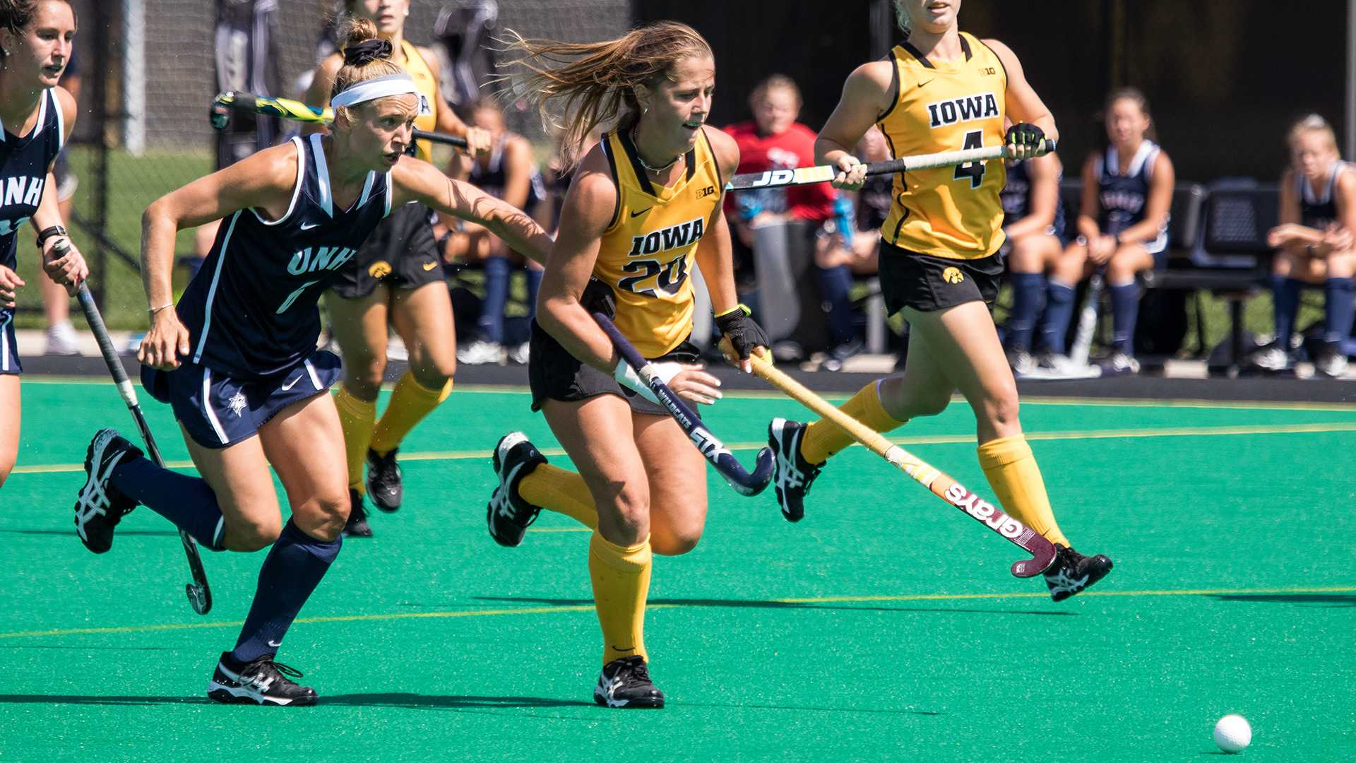 Iowa's Sophie Sunderland chases after the ball during the Iowa-University of New Hampshire field hockey match on Sunday, Sept. 10, 2017. Iowa defeated UNH by a final score of 7-1.