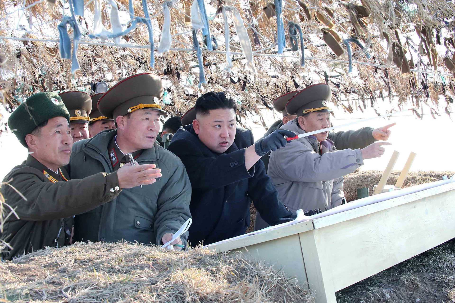 A photo released by KCNA news agency on March 12, 2013, shows North Korea leader Kim Jong Un visiting the Wolnae-do Defence Detachment on the western front line. (KCNA/Xinhua/Zuma Press/MCT)