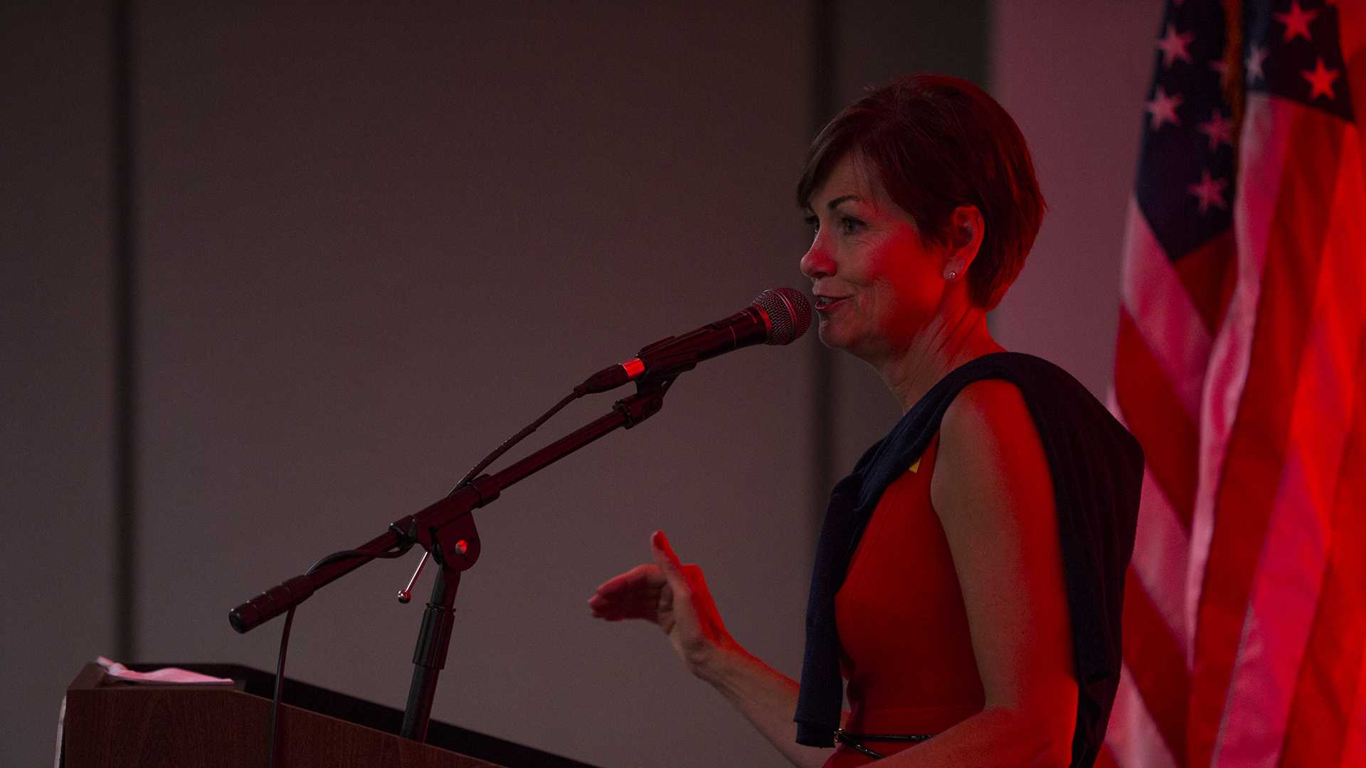 Iowa Gov. Kim Reynolds speaks during a Johnson County Republicans event in Coralville at the Radisson Hotel Conference Center on Thursday, July 6, 2017. Reynolds spoke to Republican constituents who had a minimum donation of $25 per individual to attend, $125 to host, and $500 to sponsor. (Joseph Cress/The Daily Iowan)