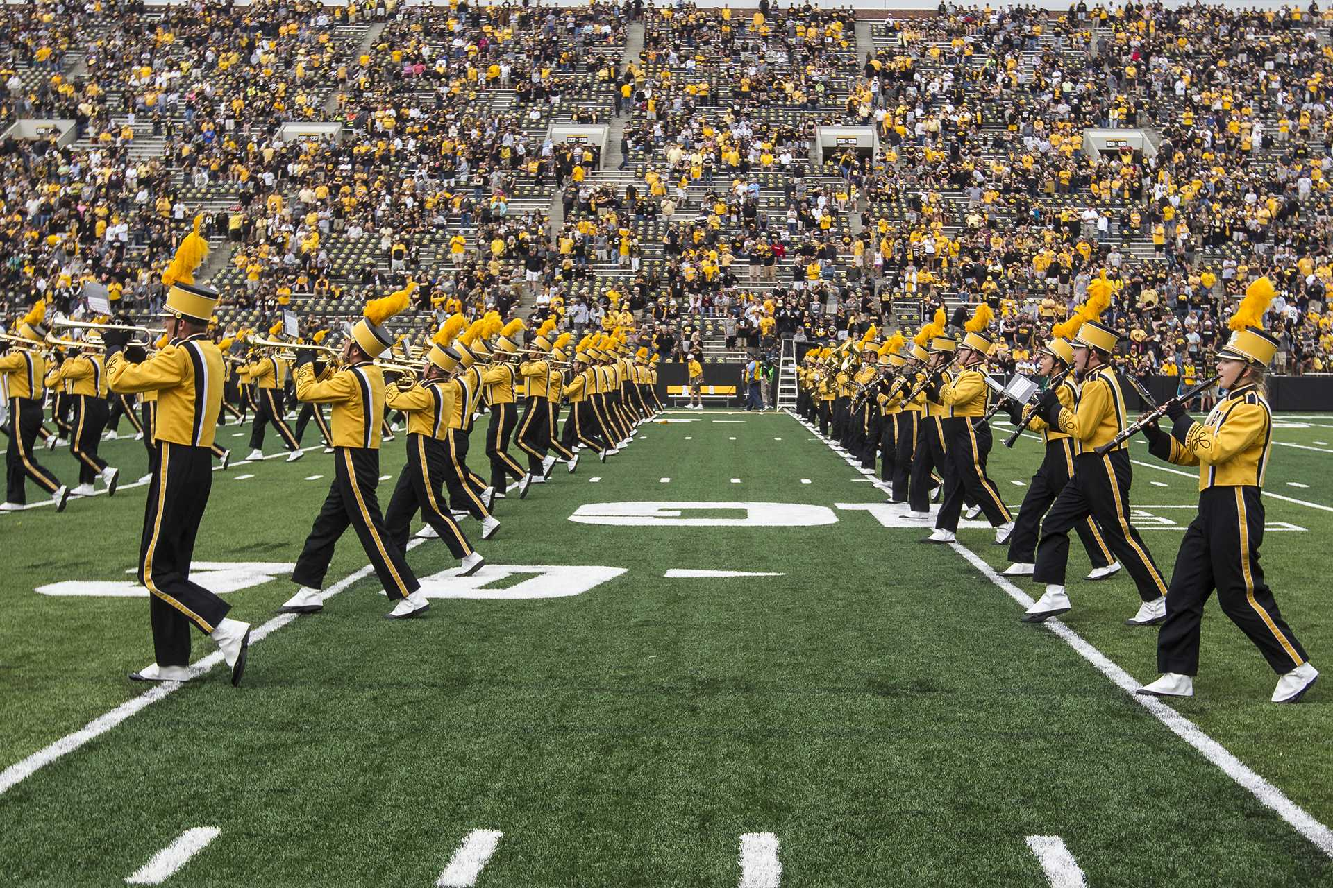 The Hawkeye Marching Band performs during halftime at the season opener against Wyoming on Saturday, Sep. 2, 2017. The Hawkeyes went on to defeat the Cowboys, 24-3. (Ben Smith/The Daily Iowan)