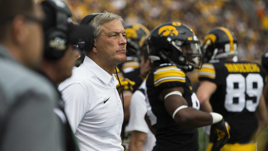 Iowa+head+coach+Kirk+Ferentz+looks+the+field+during+an+NCAA+football+game+between+Iowa+and+Wyoming+in+Kinnick+Stadium+on+Saturday%2C+Sept.+2%2C+2017.+The+Hawkeyes+defeated+Wyoming%2C+24-3.+%28Joseph+Cress%2FThe+Daily+Iowan%29