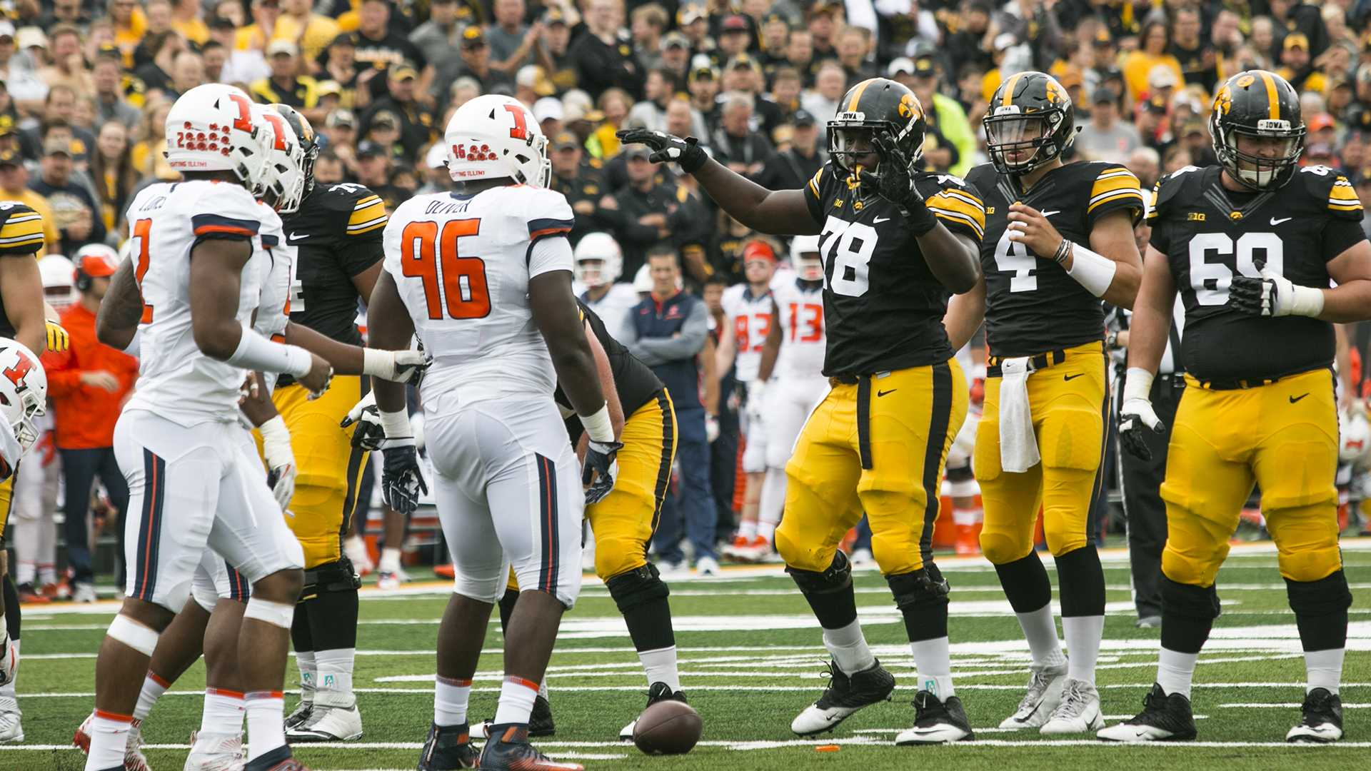 Iowa offensive linemen James Daniels gestures for the crowd to quiet down during an NCAA football game between Iowa and Illinois in Kinnick Stadium on Saturday, Oct. 7, 2017.  The Hawkeyes defeated the Fighting Illini, 45-16. (Joseph Cress/The Daily Iowan)