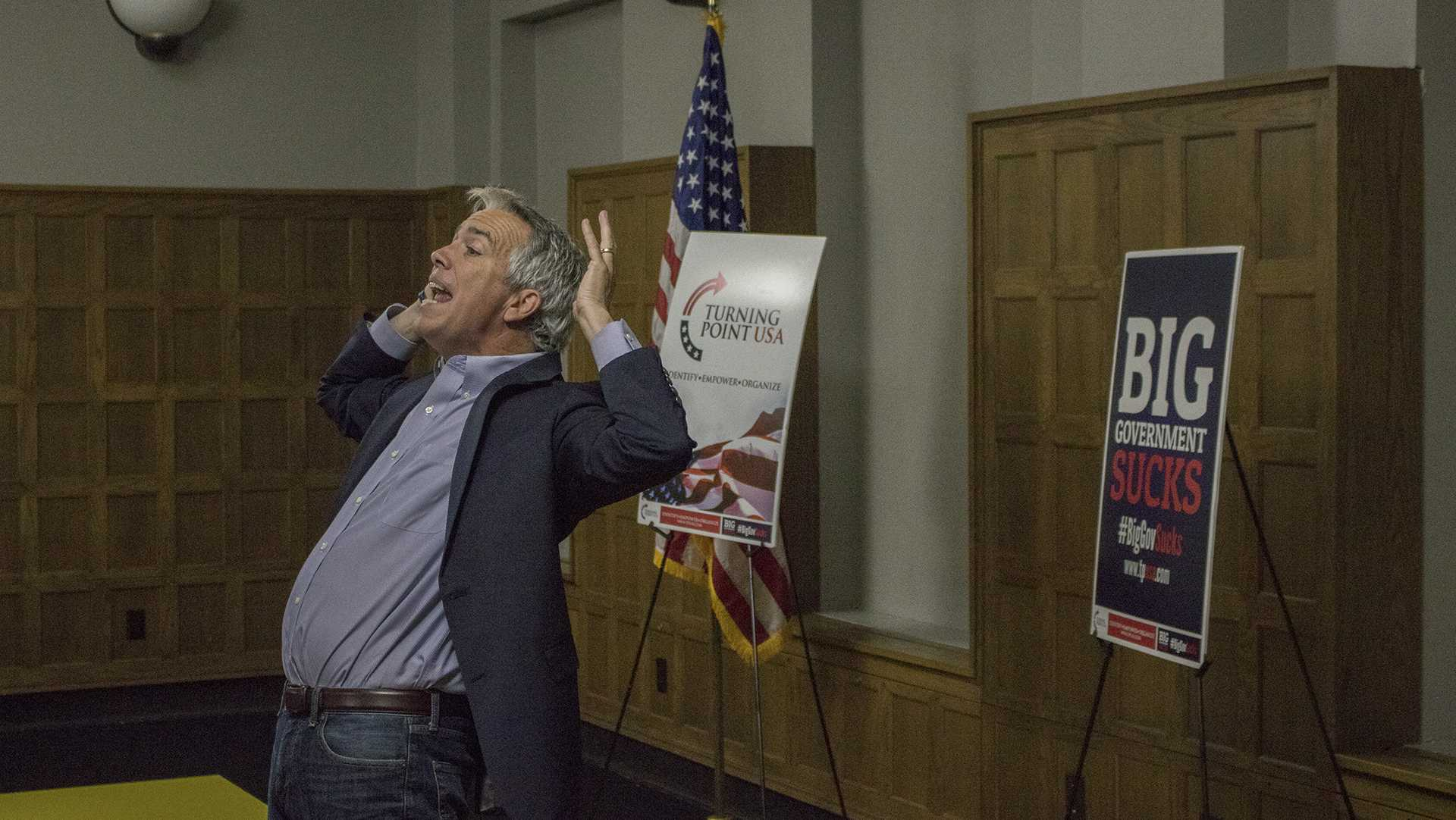 Joe Walsh speaks emphatically at the IMU on Tuesday, October 17, 2017. Walsh presented about the states of both major political parties and background regarding the presidential election. (Shivansh Ahuja/The Daily Iowan)