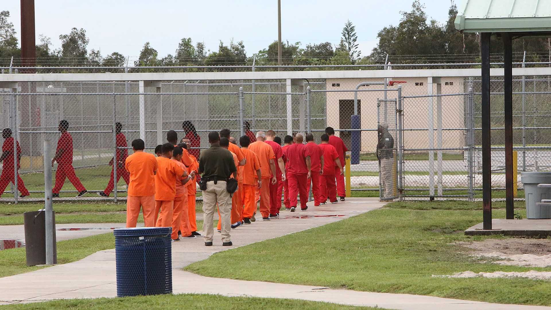 Foreign nationals at the Krome detention center, where those with criminal records and deportation orders are often held, in Miami in September 2015. In the latest Trump administration effort to spotlight crimes committed by immigrants in the United States illegally, the head of the Department of Homeland Security on Tuesday, April 26, 2017, launched a new office to help victims of crimes commited by immigrants. (Jose A. Iglesias/Miami Herald/TNS)