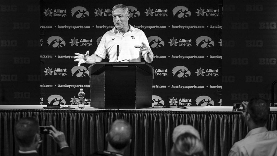 Iowa+head+coach+Kirk+Farentz+takes+questions+from+the+media+after+the+game+between+Iowa+and+Michigan+State+at+Spartan+Stadium+on+Saturday+Sept.+30%2C+2017.+The+Spartans+defeated+the+Hawkeyes+17-10.+%28Nick+Rohlman%2FThe+Daily+Iowan%29