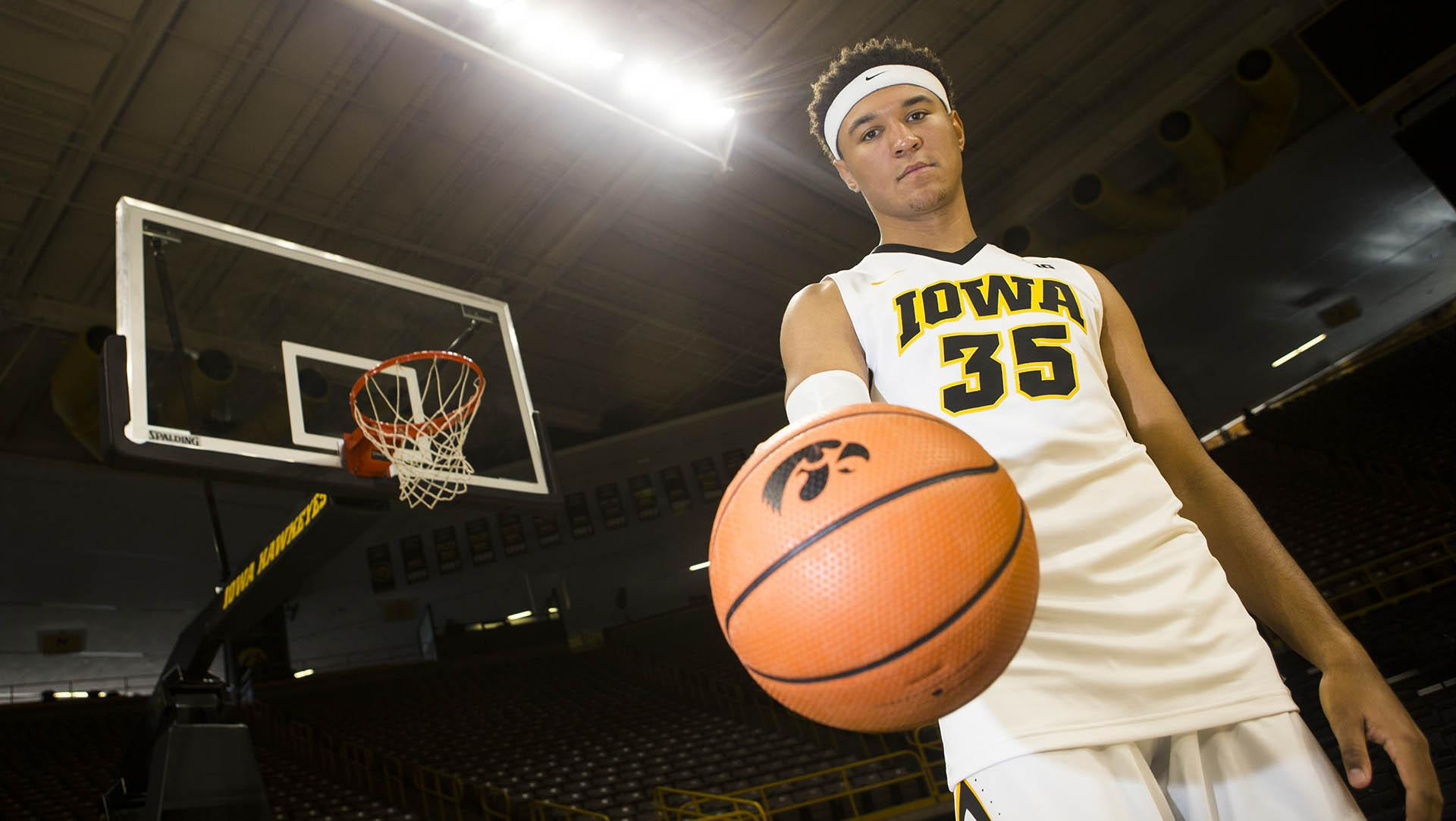 Iowa forward Cordell Pemsl poses for a portrait during men's basketball media day in Carver-Hawkeye Arena on Monday, Oct. 16, 2017. The Hawkeyes open up their season with an exhibition game against William Jewell College on Friday, Oct. 27. at 7 p.m. in Carver. (Joseph Cress/The Daily Iowan)