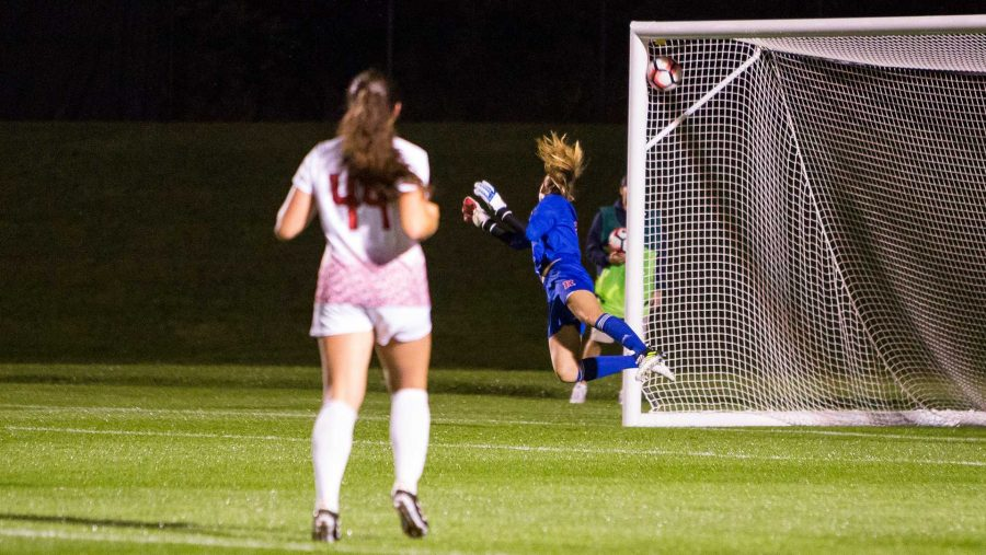 Rutgers+goalie+Casey+Murphy+dives+for+the+ball+as+it+flies+into+the+top+of+the+net+during+the+Iowa%2FRutgers+soccer+game+on+Thursday%2C+Oct.+5%2C+2017.+The+goal+by+Iowa%E2%80%99s+Devin+Burns+was+the+only+one+of+the+match+and+Iowa+won+1-0.+%28David+Harmantas%2FThe+Daily+Iowan%29