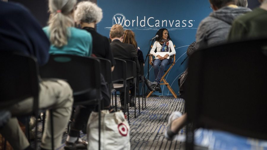 Attendees+listen+to+a+panel+discussion+during+the+World+Canvass+lecture+at+Merge+on+Wednesday%2C+Oct.+18%2C+2017.+The+topic+of+discussion+was+fake+news+in+the+modern+media.+%28Ben+Smith%2FThe+Daily+Iowan%29