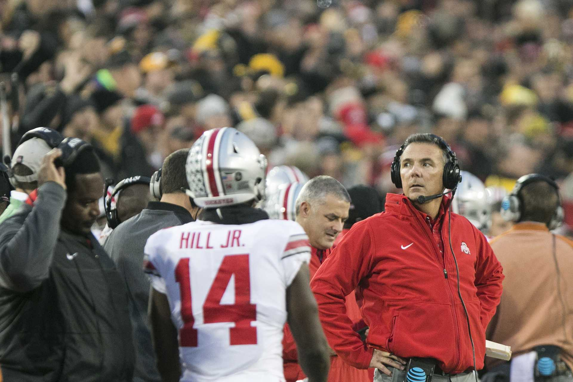 Ohio State head coach Urban Meyer looks to the scoreboard during the Iowa/Ohio State football game in Kinnick Stadium on Saturday, Nov. 4, 2017. The Hawkeyes defeated the Buckeyes in a storming fashion, 55-24. (Joseph Cress/The Daily Iowan)