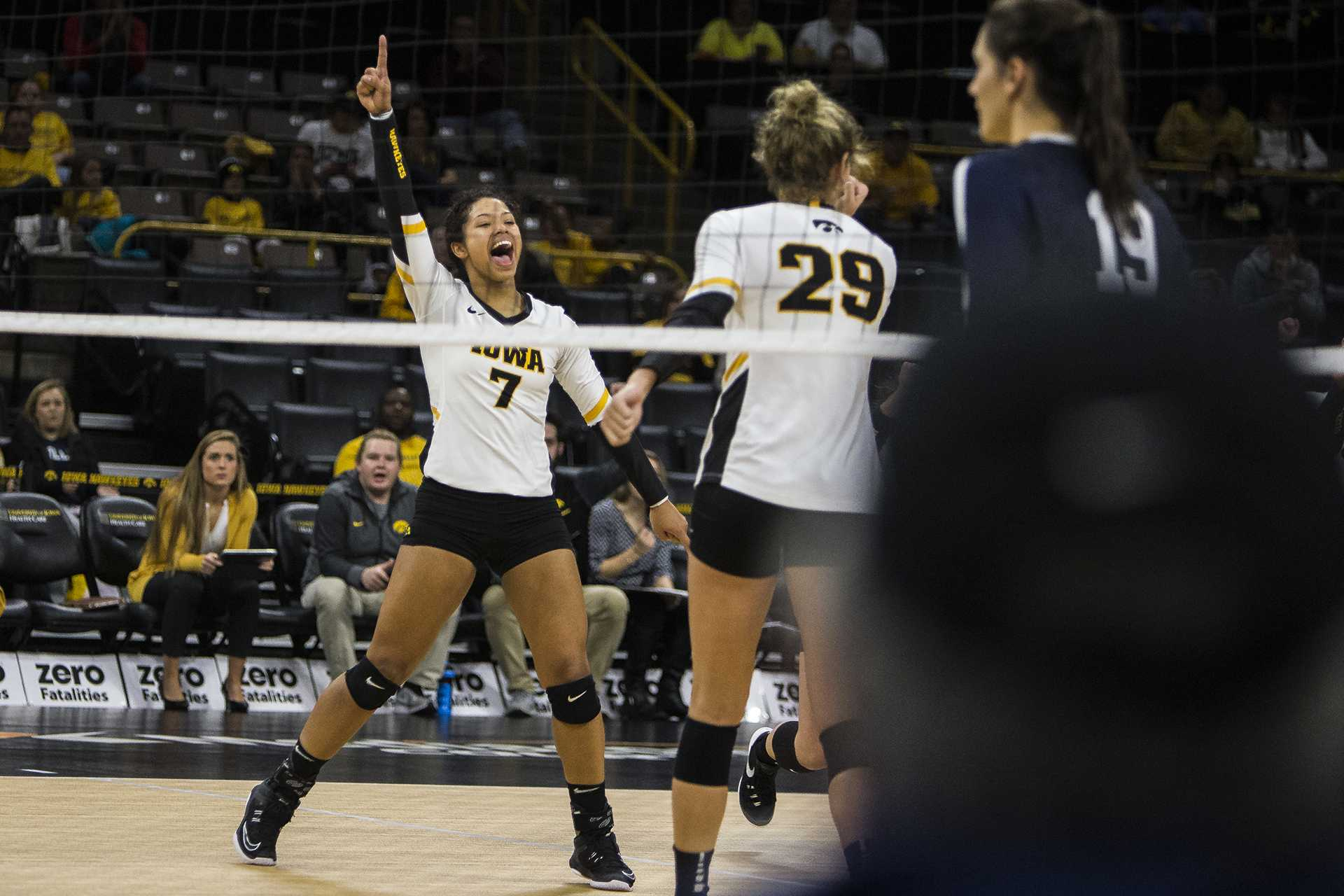 Iowa's Brie Orr (7) celebrates a point won during the match between Iowa and Penn State at Carver-Hawkeye Arena on Wednesday, Nov. 8, 2017. The Hawkeyes lost to the Nittany Lions 3-0. (Ben Smith/The Daily Iowan)